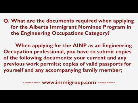 Documents required when applying for the AINP in the Engineering Occupations Category