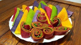 🌶Таких блинов вы еще не ели! Rainbow pancakes.Цветные блины на масленицы!