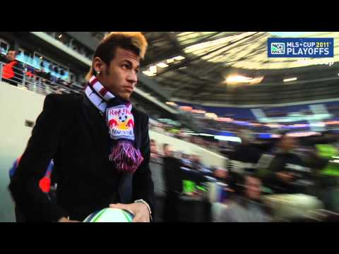 Brazilian national team superstar Neymar was at Red Bull Arena to watch Thierry Henry and the Red Bulls play the Galaxy.