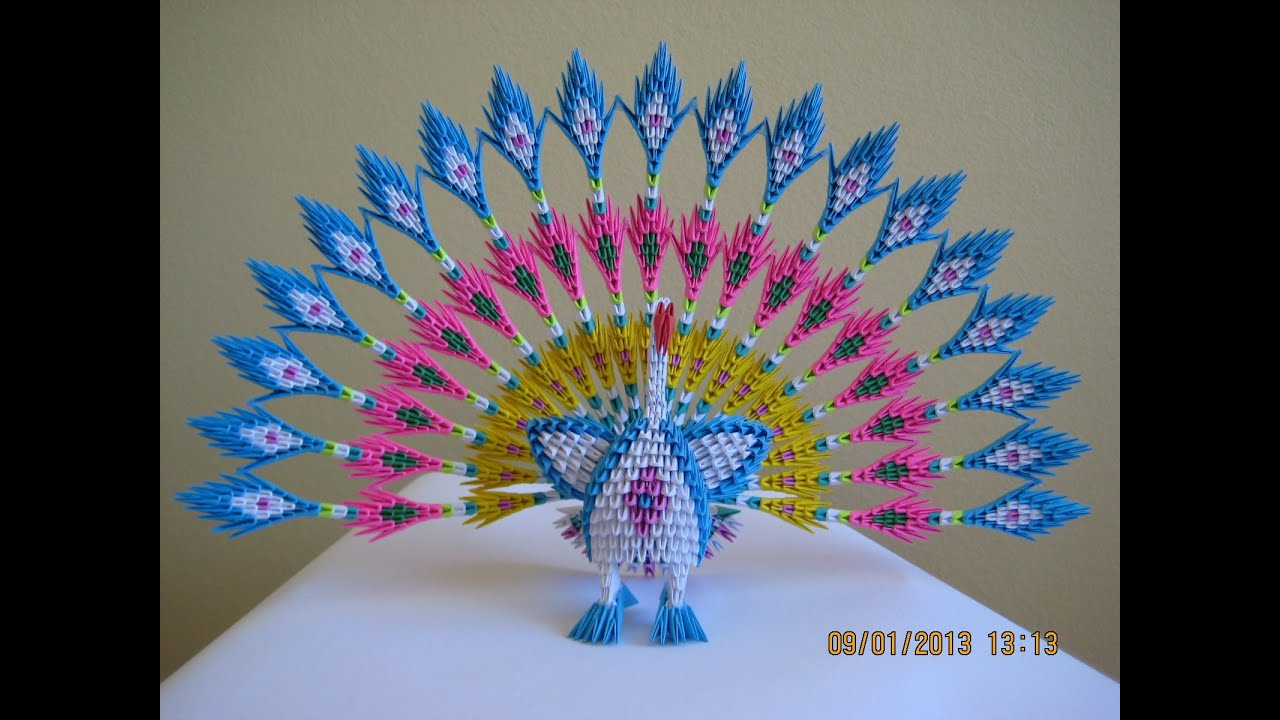 3d origami peacock circle tail