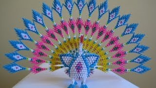 3D Origami Peacock with 19 Tails 1578 Pieces Version 2