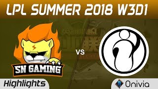 SNG vs IG Highlights Game 1 LPL Summer 2018 W3D1 Suning Gaming vs Invictus Gaming by Onivia
