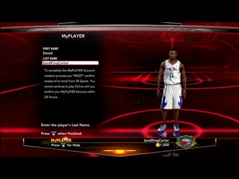 NBA 2K13 - How To Create Your MyPLAYER Account   Choose Your Name Wisely Feat. David IpodKingCarter