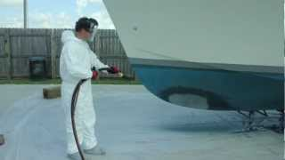Fiberglass Boat Stripping with the Dustless Blaster
