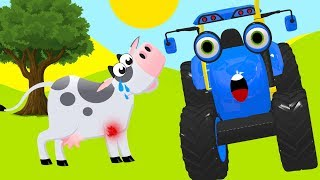 Tractors for children with farm animals - Blue Tractor Song Cartoon for Toddlers