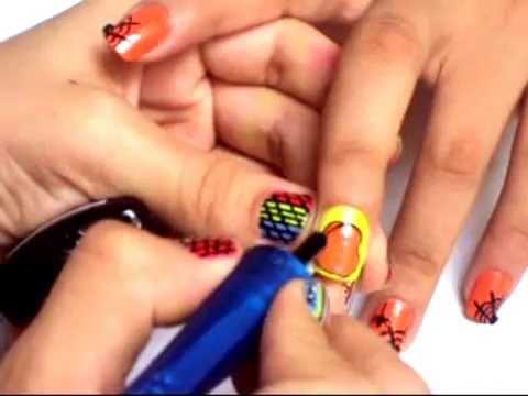"""uñas decoradas de calabaza para halloween """"Tips de Belleza Loren"""""""