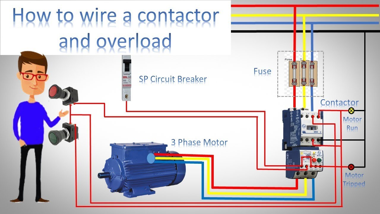 How To Wire A 3 Phase Motor Contactor Wiring Diagram Guide For With Circuit Jony Earthbondhon And Overload Direct Online Starter By