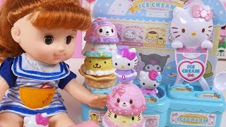 Baby Doll Hello Kitty Ice Cream Shop Pink Car Pororo Toy Soda