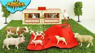 "Stork sends BABY FARM ANIMALS | ""Jungle Daddy"" safari cow pig sheep barn schleich"