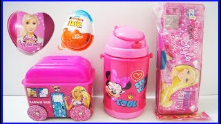 Surprise Kinder Joy Egg Barbie Egg Barbie Pencil Box Bus Minnie Bottle Learn Colors Nursery Rhymes