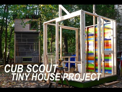 Cub scouts in ma build a tiny house cabin w deek to raise funds youtube - The scouts tiny house ...