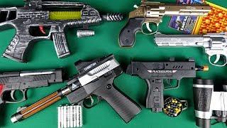 TOY GUNS !!! Plastic Bullet Pistols - Sounds Uzi Gun - Assault Rifles