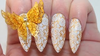 How To: Lace Butterfly Acrylic Nails