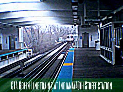 CTA Green Line trains at Indiana/40th Street station (05-02-15)
