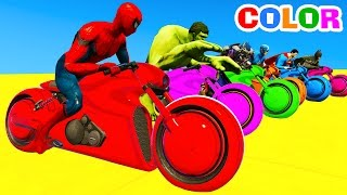 LEARN Color Motorcycles on BUS & Spiderman Cars Cartoon for kids with Superheroes for babies!