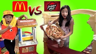 Pretend Play Mcdonalds Drive Thru with Ryan's Toy Review inspired - Mcdonalds vs Pizza Hut Challenge