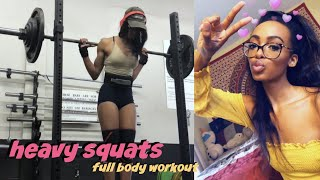 how to squat heavier: squatting 200 lbs | full body workout • Lawenwoss