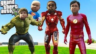 GTA 5 Kids: BECOMING SUPERHEROES - Iron Man, The Hulk, The Flash & More! GTA 5 Mods Gameplay