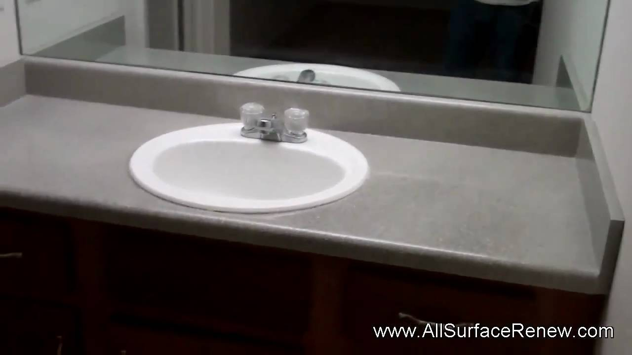 Old Plain Gray Bathroom Vanity Refinished To Stone Look Youtube