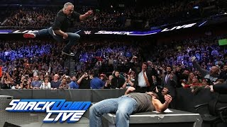 Shane McMahon hits AJ Styles with an elbow onto the announce table: SmackDown LIVE, Mar. 21, 2017