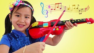 Jannie & Wendy Pretend Play with Violin Music Toy & Sings Children Songs for Kids
