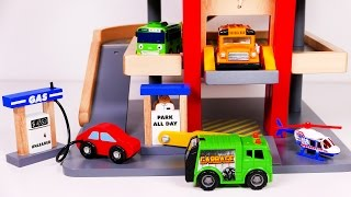 Parking Garage Car Wash Playset for Kids!! Put Gas in your Car Before Taking it up in a Lift