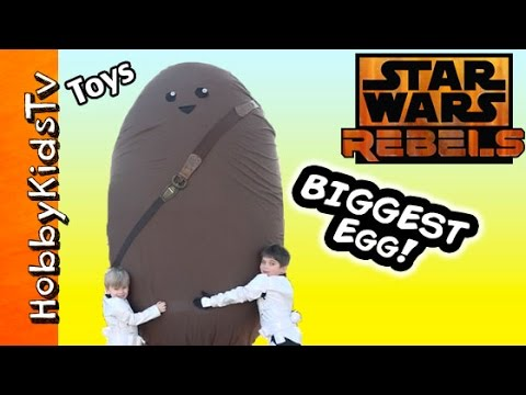 WORLDS BIGGEST Star Wars Chewbacca Egg Play Doh Surprise Disney Vinylmation X Wing by HobbyKidsTV