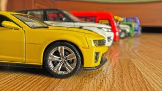 Catching Toy Cars Moving on Their Own by Hand // Video for Kids
