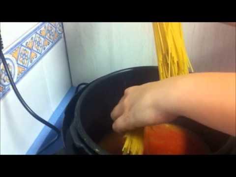 receta espaguetis con carne (boloñesa) con una olla programable modelo d, cocina programable
