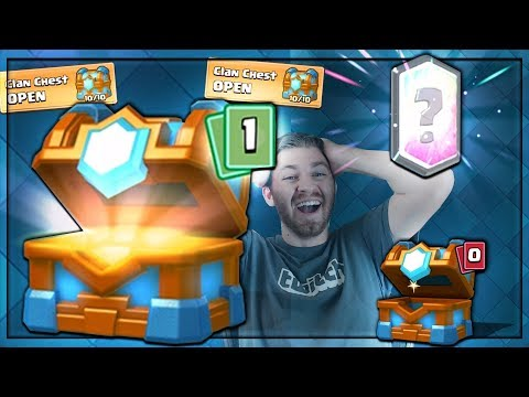 WOW!! CLUTCH MAX CLAN CHEST LEGENDARY OPENING!   Clash Royale   FLYING MACHINE GEM SPREE