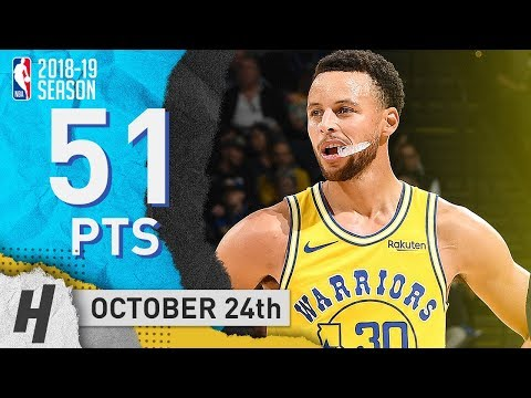 Stephen Curry UNREAL Highlights Warriors vs Wizards 2018.10.24 - 51 Points in 3 Qtrs!