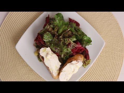 Winter Greens Salad w/ Ricotta Bruschetta