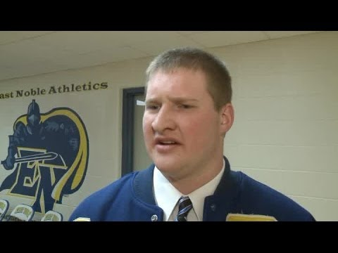 East Noble high school's Connor Holcomb interview after signing with St. Francis football.