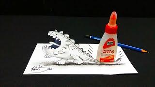 Desenho de DRAGÃO 3D ✱ Desenho ANAMÓRFICO com ilusão de ótica ✱ Trick Art Drawing 3D Visual Illusion