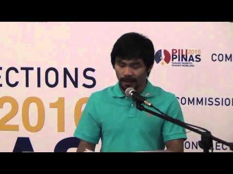 Manny Pacquiao files COC for senator, reveals platform