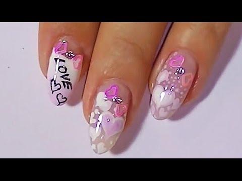 Дизайн ногтей. Роспись ногтей - сердечки. Модный маникюр.