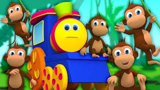 bob lăm con khỉ nhỏ | nhac thieu nhi hay nhất | Bob Five Little Monkeys | Kids Tv Vietnam