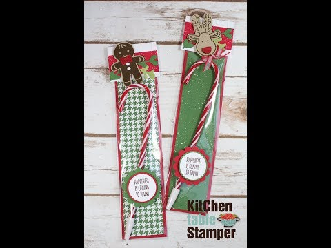 Stampin' Up! Cookie Cutter Christmas Candy Cane Pen Treat Tutorial