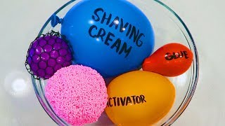 Making Slime with Balloons, Play Foam, & Slime Mesh Balls!