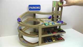 DIY Car track with lift and with Parking of cardboard