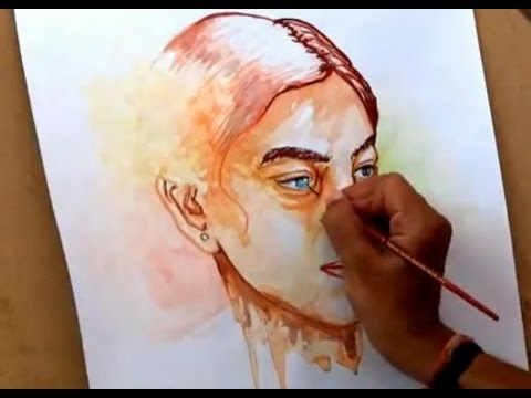 Simple watercolor portrait painting how to paint in for Portrait painting tutorial