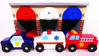 Fire Truck Police Car and Ambulance Vehicles with Garage Parking Playset! Learn Colors