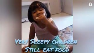 Sleepy children while eating food   sleeping child   funny baby sleeping fail