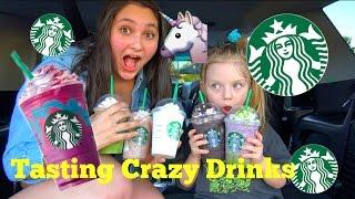 Starbucks TASTE TEST! Dragon Frappuccino! Crazy FRAPPUCCINOS! UNICORN! The Toytastic Sisters