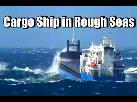 Small Cargo ship in rough seas off coast of Italy