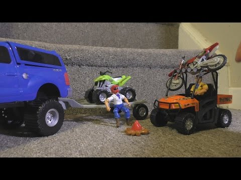 TOY CARS OFF ROAD ATV Dirt Bike ACTION Video Kids FUN!  ZOMBIES!!!