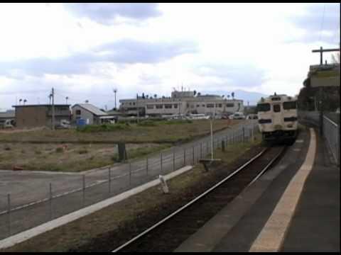 JR指宿枕崎線二月田駅を発車するキハ47形普通山川行き