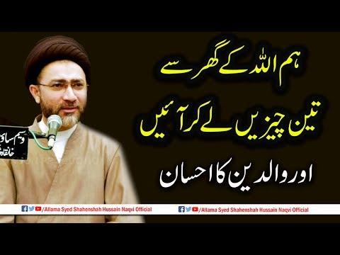 Hum Allah k Ghr se 3 Chezey lekar aye hen | aur Waldain k Ahsan by Allama Syed Shahenshah
