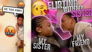 HAD MY FRIEND FLIRT WITH MY 15 YEAR OLD SISTER TO SEE HOW SHE REACTS! *They went too far*