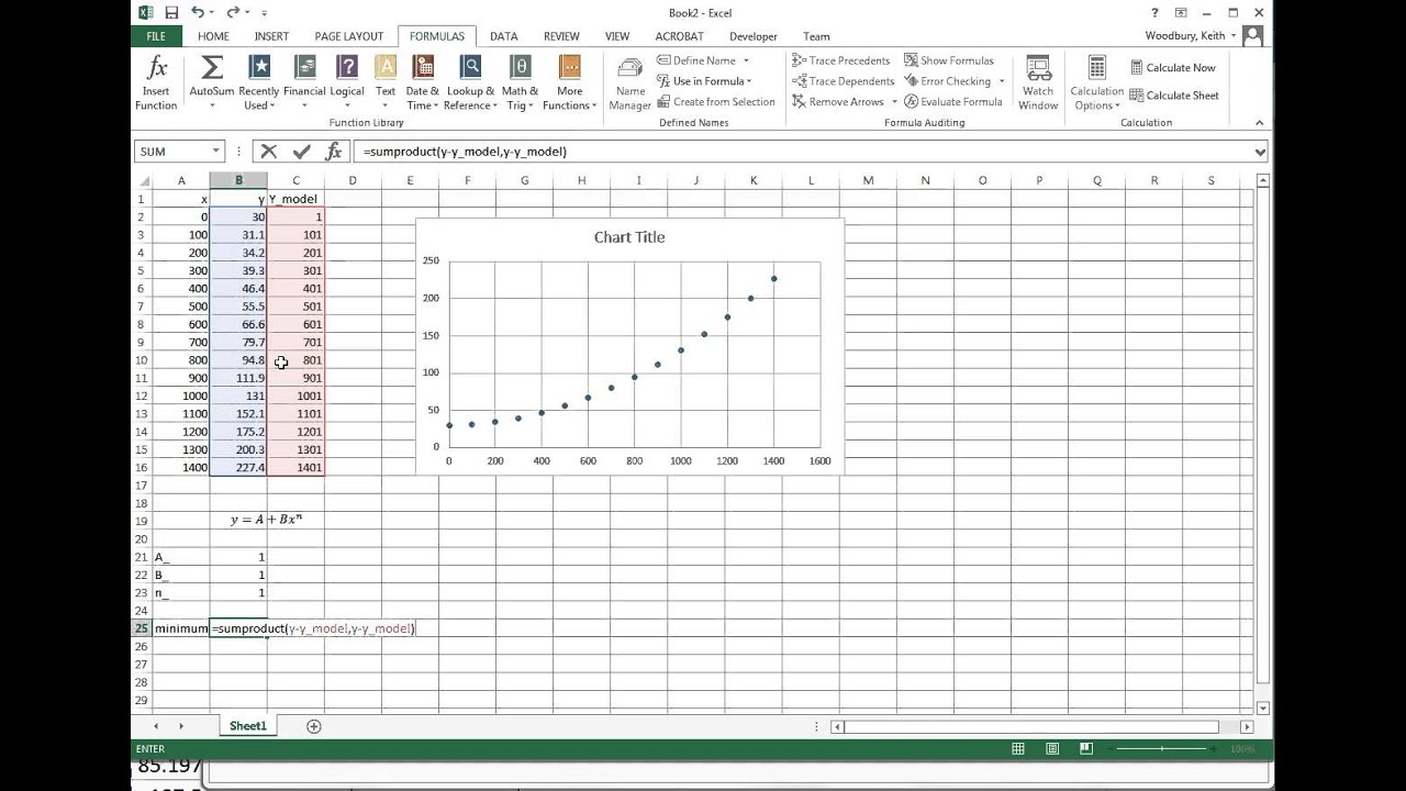 Power Curve Power-law Curve Fit in Excel